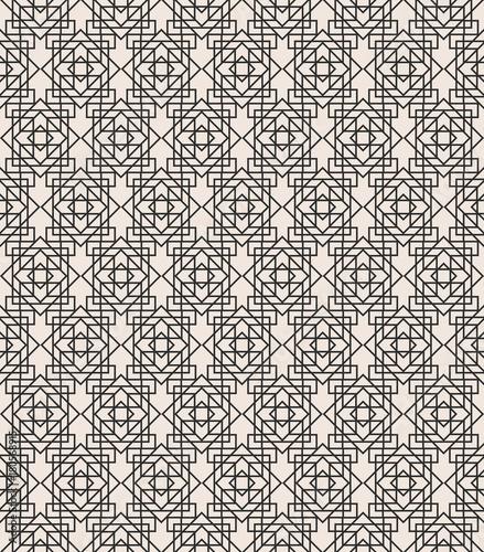 Fototapeta Art deco geometric seamless pattern black line color on white background for greeting card, textile, wedding invitation, decoration, poster. Arabic background. Vector Illustration