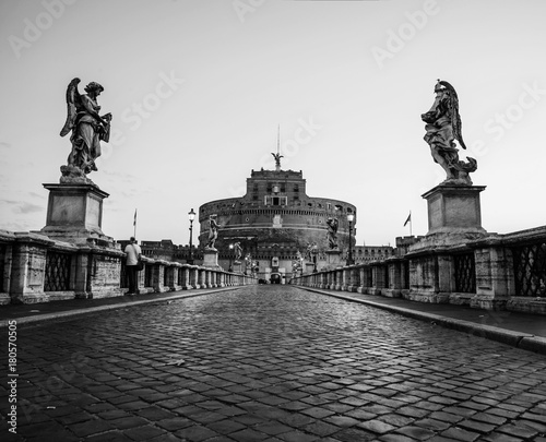 Papiers peints Rome Bridge and Castle of the Holy Angel in Rome