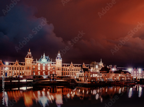Foto op Canvas Amsterdam Beautiful night in Amsterdam. illumination of buildings