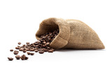 Coffee beans spilled out from burlap sack - 180571517