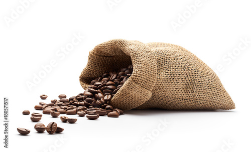 Coffee beans spilled out from burlap sack