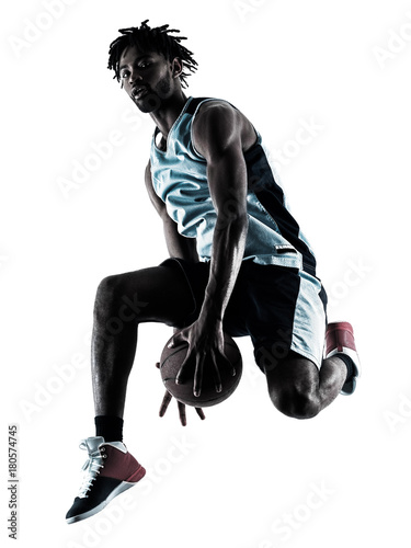 Aluminium Basketbal one afro-american african basketball player man isolated in silhouette shadow on white background