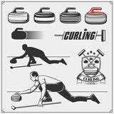Set of curling labels, emblems and design elements.
