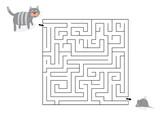 Labirynt z kotem i myszą-zabawką / ilustracja wektorowa dla dzieci