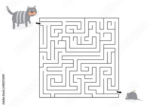 Labirynt z kotem i myszą-zabawką / ilustracja wektorowa dla dzieci - 180576199
