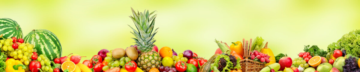 Panoramic wide collection fruits and vegetables for skinali