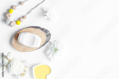 natural organic cosmetics for baby on white background top view Poster