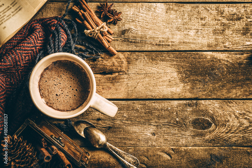 Fotobehang Chocolade Winter hot chocolate on rustic background