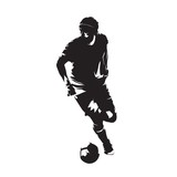 Soccer player running with ball, abstract vector isolated silhouette. European football, team sport