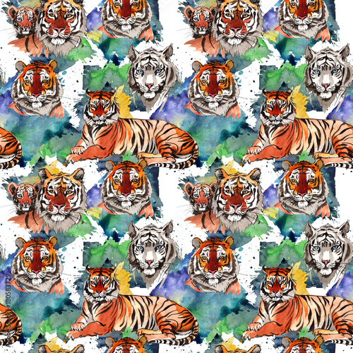 Poster Exotic tiger wild animal  pattern in a watercolor style. Full name of the animal: tiger. Aquarelle wild animal for background, texture, wrapper pattern or tattoo.