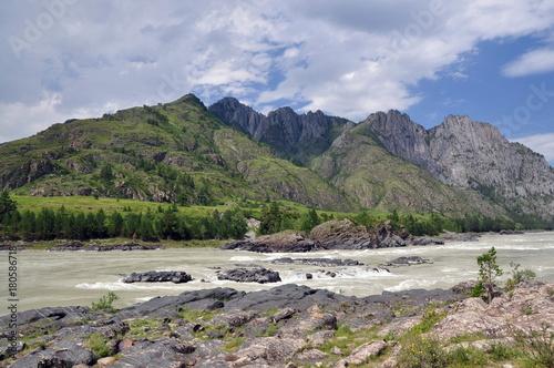 Fotobehang Bergrivier Алтай, Россия, горы, река, скалы, небо, облака, природа, рафтинг, путешествия, отдых