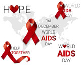 A set of red ribbons and inscriptions to the World AIDS Day. Red ribbons on the background of the world map
