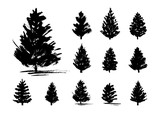 Set of 11 Christmas trees sketches  isolated on white - 180592710