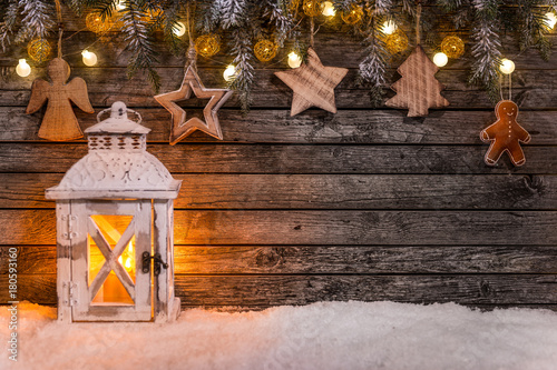 Christmas decoration on wooden background - 180593160