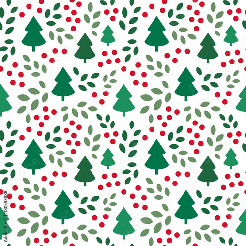 Cotton fabric Endless Christmas Pattern with Christmas Trees