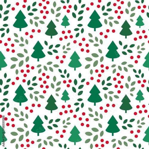 Materiał do szycia Endless Christmas Pattern with Christmas Trees
