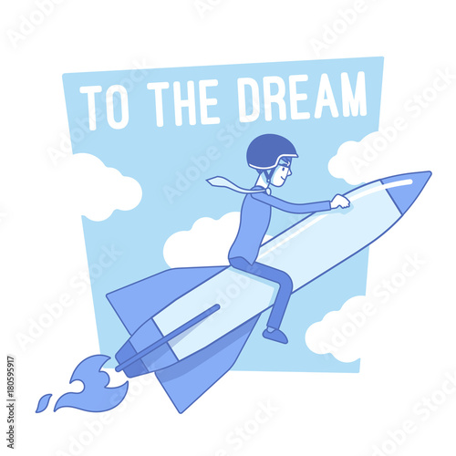 To the dream motivation. Lineart concept illustration