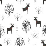 Deer and trees seamless pattern on white background. Decorative forest vector illustration. Cute wild animals nature background. Scandinavian style design for textile, wallpaper, fabric, decor.
