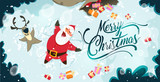 Happy Santa Claus and reindeer making a Snow Angel. Cute Christmas characters for Holiday design. Christmas Greeting Card for invitation, congratulation. Vector illustration - 180597338
