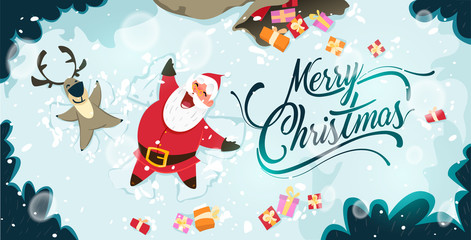 Happy Santa Claus and reindeer making a Snow Angel. Cute Christmas characters for Holiday design. Christmas Greeting Card for invitation, congratulation. Vector illustration
