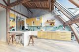 modern attic kitchen  interior - 180600501
