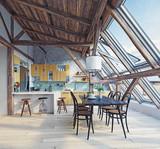 modern attic kitchen  interior - 180600539