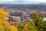 Marquam Bridge over Willamette River Fall Scene in Portland OR USA