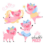 The set of adorable, cute, cartoon, flat pink piggy (pig). Pig in crown, with wings, fairy piggy, ballerina. Vector illustration suitable for kids t-shirt prints and other