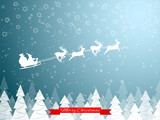 Santa Clause on deer sleigh flying over the forest in the night over the stars and the moon. Vector illustration.