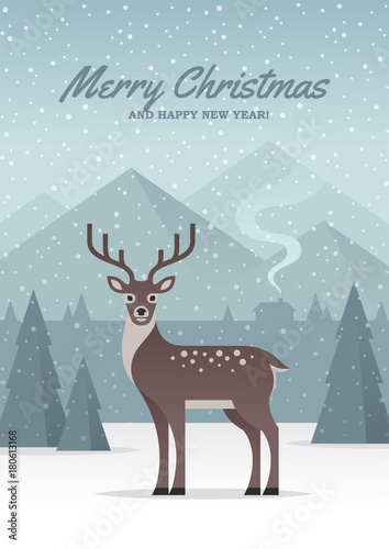 In de dag Lichtblauw Winter nature landscape illustration with deer, forest and mountains.