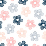 Vector seamless pattern with hand drawn flowers.