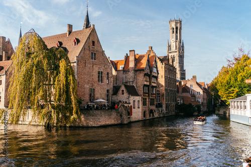 Papiers peints Bruges Brugge, Belgium - November, 2017: Brugge medieval historic city. Brugge streets and historic center, canals and buildings. Brugge popular touristic destination of Belgium.