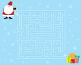 labirynt dla dzieci z Św.Mikołajem i prezentami / Boże Narodzenie