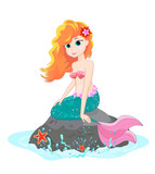 Lovely Mermaid A Beautiful Mermaid Sits On A Sea Stone Wall Sticker