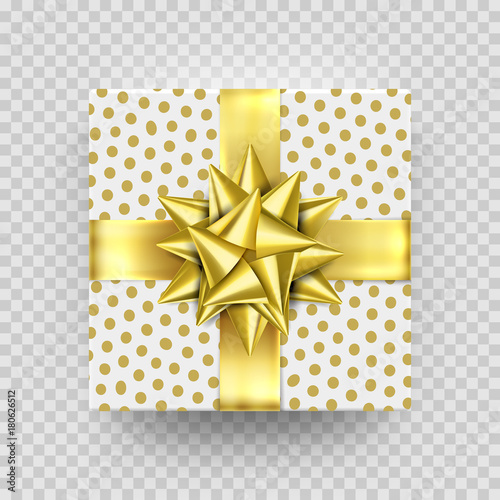 Christmas gift box gold present in golden ribbon bow and wrapping paper wave pattern. Vector premium gift box isolated on transparent background for New Year, Christmas holiday, Birthday greeting card