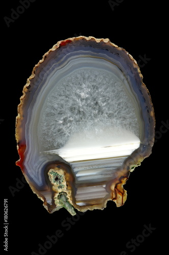 A cross section of the agate stone. Horizontal agate, filled with quartz. Origin: Rudno near Krakow, Poland.