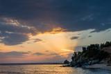 amazing sunlight rays over the sea of chalkidiki