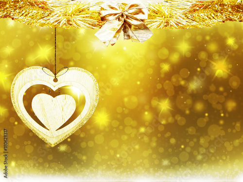 Christmas gold background circles blur decoration heart yellow texture abstract - 180628317