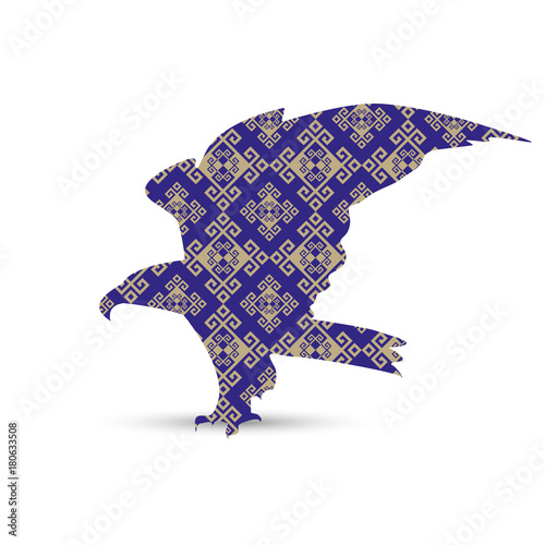 Silhouette of eagle with antique greek style background .