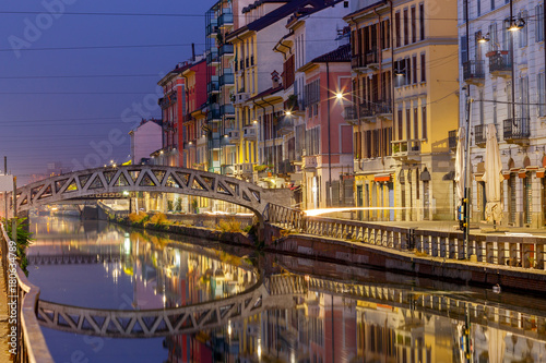 Papiers peints Ponts Milan. Canal Naviglio Grande at sunset.