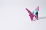 colorful origami butterfly on white background