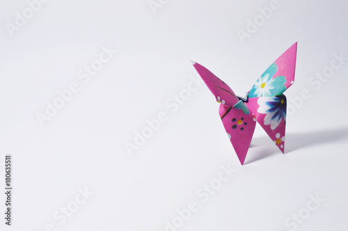 colorful origami butterfly on white background - 180635511