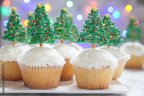 Christmas tree cupcake Poster