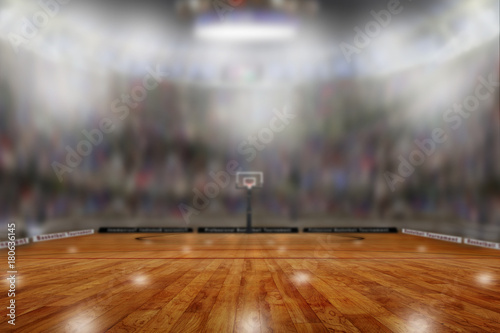 Plexiglas Basketbal Basketball Arena With Copy Space. Focus on foreground with shallow depth of field on background.