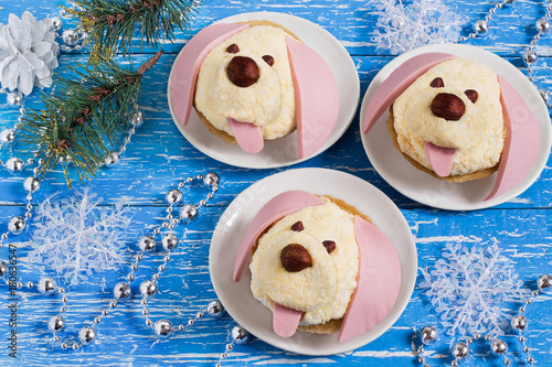 Snack in form of dogs for New Year 2018