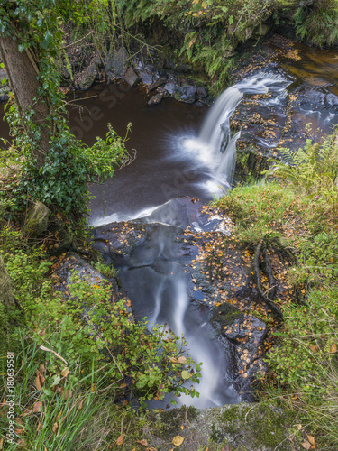 lumb falls waterfall close to the yorkshire town of hebden bridge - 180639581