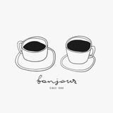 Two doodle coffee cups. Hand drawn vector illustration for cafe and kitchen