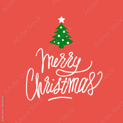 Merry Christmas hand drawn greeting card for gifts, banners, tags, etc.