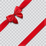 red satin ribbon and bow vector illustration - 180640939