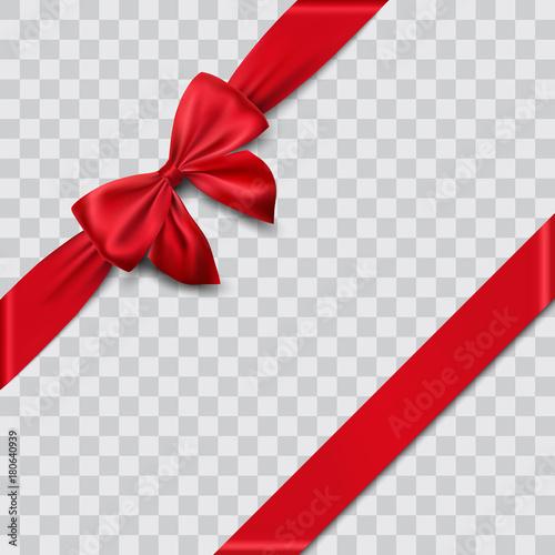 red satin ribbon and bow vector illustration - 180640939